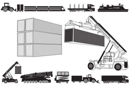 tow tractor: Vector illustration of loading  and Transport concept, containers and transportation. Set of Transport icons