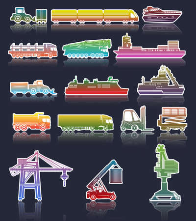 tow tractor: Vector set of industrial Transport icons