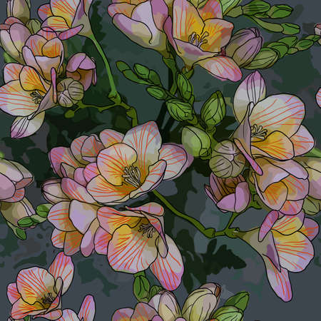 Vector seamless pattern with Beautiful bouquet of spring freesias