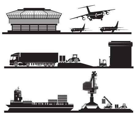 port: Vector Transport concept, loading of containers in warehouse, airport, port and transportation