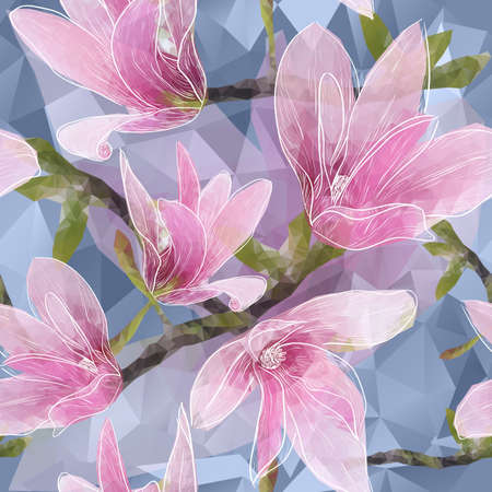 Vector Seamless background with blooming magnolia flowers in triangles style