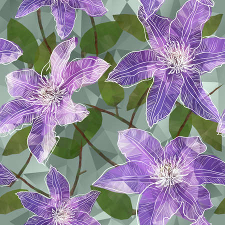 Vector Seamless background with blooming clematis flowers in triangles style Vettoriali