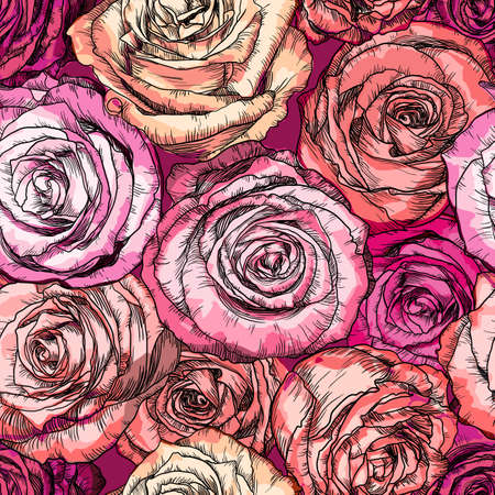 Vector illustration of Retro Seamless Pattern with Rose Flowers
