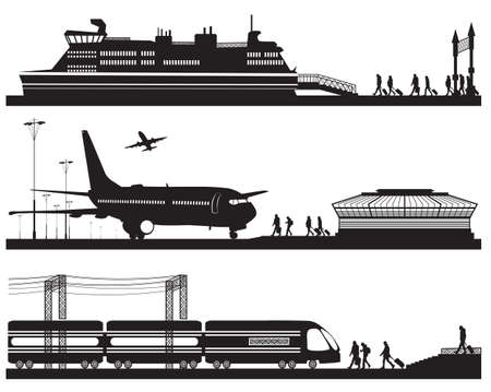 Vector illustration of travelers in airport terminal, train station and pier with cruise liner Vectores