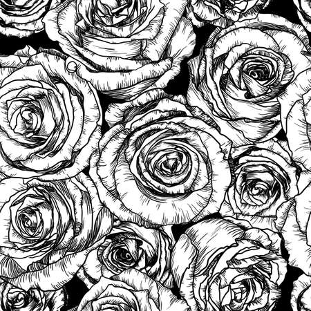 Black and white Vector illustration of Seamless Pattern with Roses Vector
