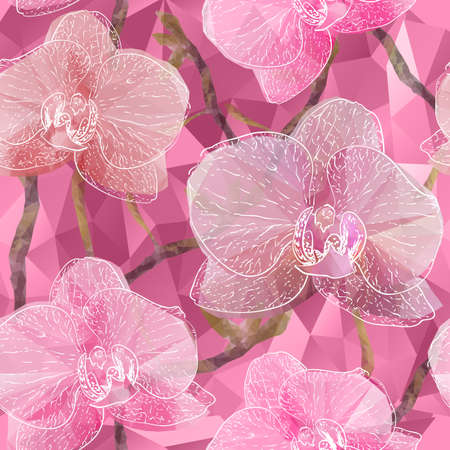 botanical gardens: Vector Seamless background with blooming Garden Orchid flowers in triangles style
