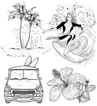 Set of Surfing Design beach style sketches