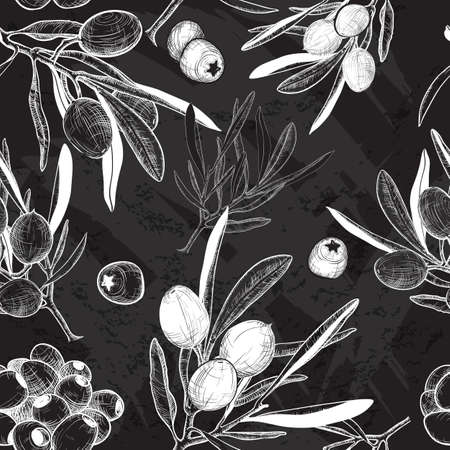olive: Vector black and white Seamless olive background
