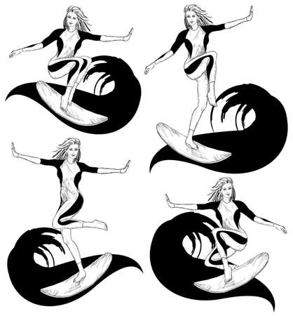 surfer vector: Vector Set of Surfing Design in sketch style, female silhouettes of surfer Stock Photo