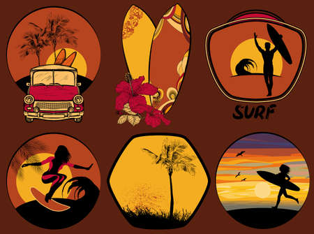rescue: Vector Set of Surfing Design beach and ocean style badges and emblems