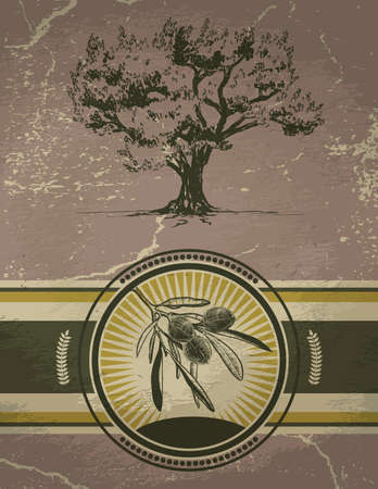 Vector Olive tree and label on vintage background