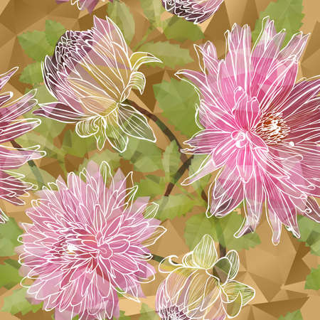 botanical gardens: Vector Seamless background with blooming Garden asters flowers in triangles style Illustration