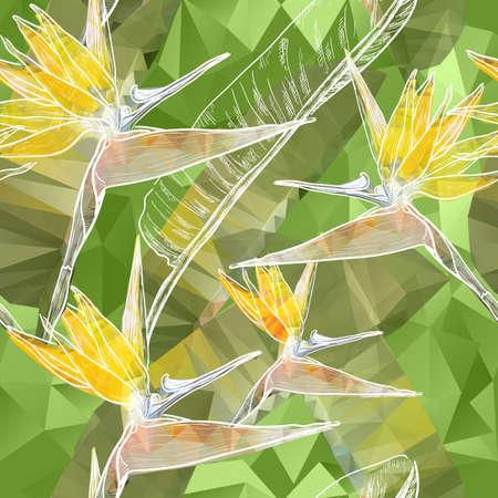 ave del paraiso: Vector de fondo sin fisuras con flores de la ave del Paraíso flores en el estilo de los triángulos