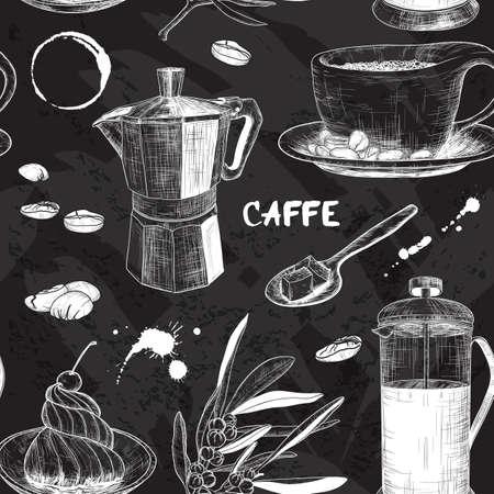 planta de cafe: Vector sin patrón con diseño del café