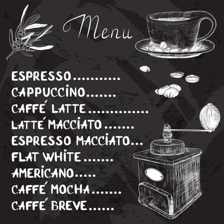 Vector coffee menu with a cup of coffee and coffee grinder drawing with chalk on blackboard
