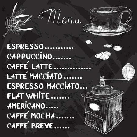molinillo: Vector menú de café con una taza de café y café Molinillo de dibujo con tiza en la pizarra