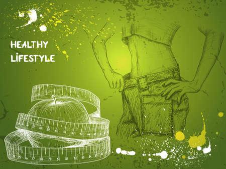 アップルとスリムな女性に巻尺とダイエットの背景のジーンズを着て、彼女の減量を示しています
