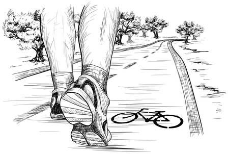 caminando: Vector el bosquejo de los pies de un corredor en marcha de paseo en maratón