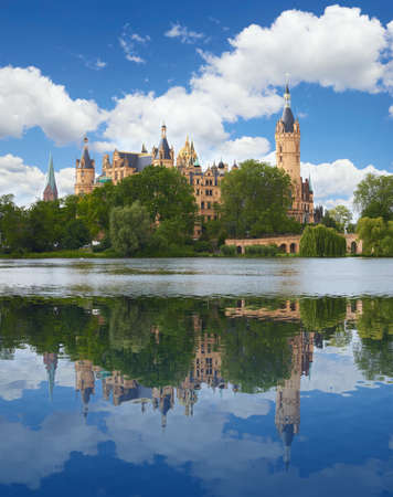 schloss: Schwerin Castle Schweriner Schloss in summer day, Germany