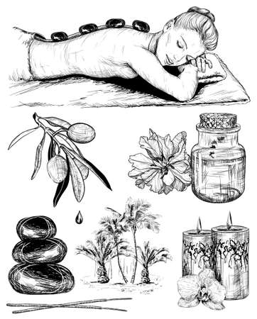massage symbol: Vector sketch set of tropical spa, Beauty and healthcare Illustration