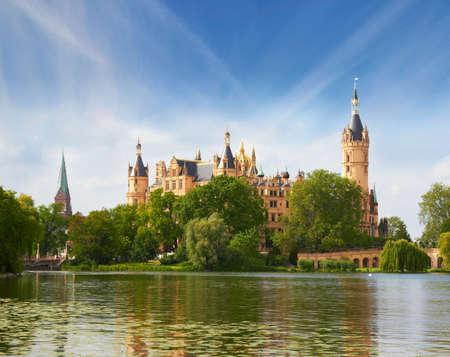 schloss: Schwerin Castle in summer day, Germany Editorial