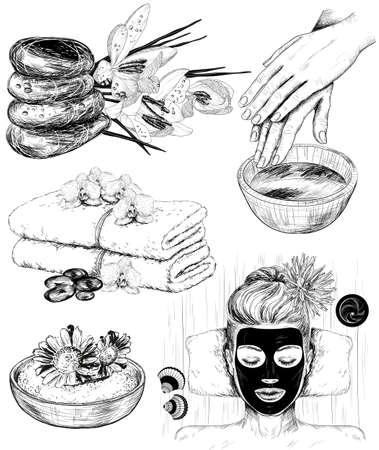 Vector hand getrokken set van spa Beauty illustraties
