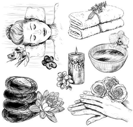 salt water: Vector sketch of Beauty and healthcare set, tropical spa