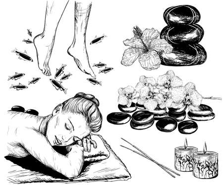 collection: Vector sketch of Beauty and healthcare set, spa treatment and fish pedicure