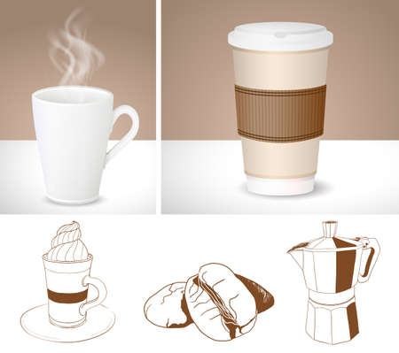 cup: illustration of realistic coffee cups and outlines of Coffee maker, latte and coffee beans