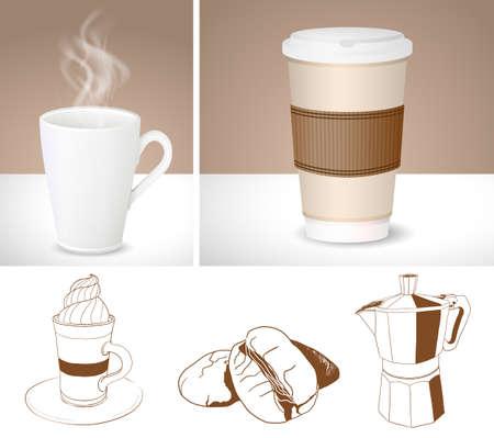 coffee maker: ilustraci�n de las tazas de caf� realistas y contornos de caf�, caf� con leche y granos de caf�