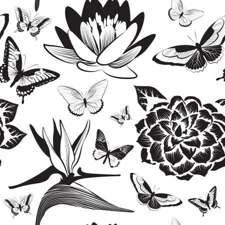 camellia: Vector Seamless pattern with flofers and butterflies