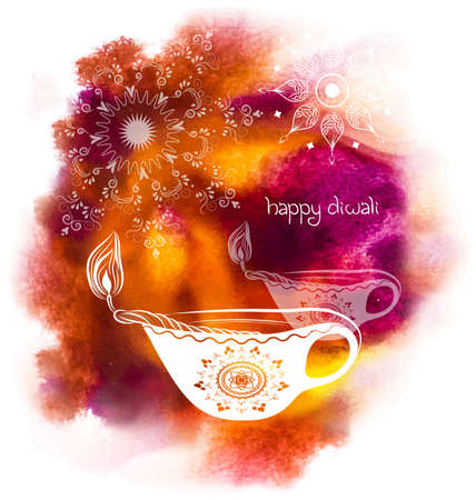worship: Vector illustration for Happy Diwali Festival with watercolour background