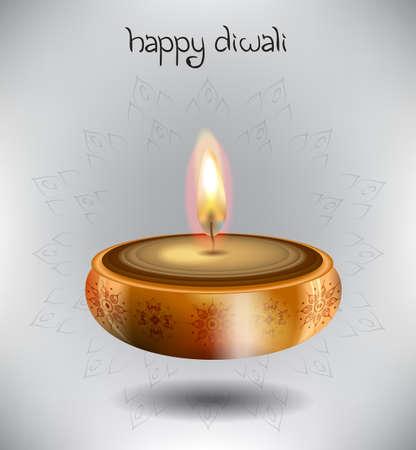 diwali celebration: Vector illustration of lamp with rangoli and stylish text for Diwali celebration