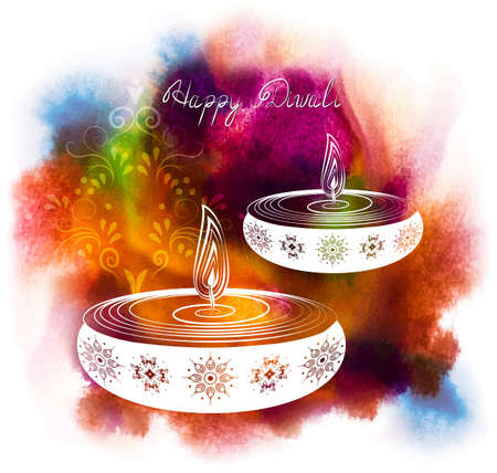 worship: Vector illustration for Happy Diwali Festival
