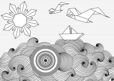 folded hands: Vector Paper ship and sun with doodle sea waves and seagulls