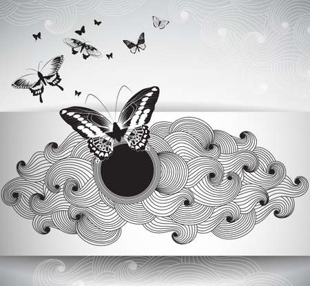 gift paper: Vector Gift paper card with butterflies and abstract krausens