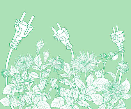 Vector Eco design with blooming flowers