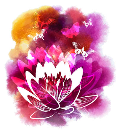 meditation stones: Vector illustration of Spa watercolor background with Lily and Butterflys Illustration