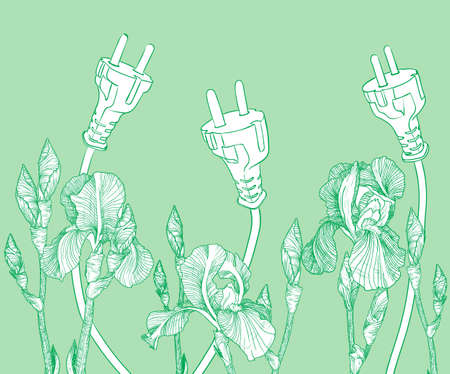 environmentally friendly: Vector Green environmentally friendly background with blooming irises. Eco design