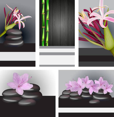 harmony nature: Vector cards and banners with bamboo and orchids