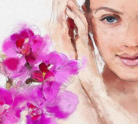 Dibujado a mano acuarela pintada moda mujer cara. Ilustración vectorial Foto de archivo - 45990829