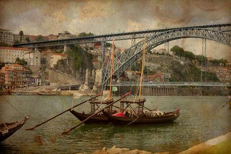 rabelo: Porto, Portugal cityscape on the Douro River, Vintage image
