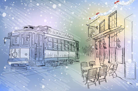 facade building: Vector illustration of Street cafe and tram on Christmas City