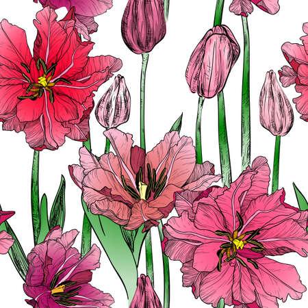 Vector naadloos patroon met roze tulpenbloemen van de lente