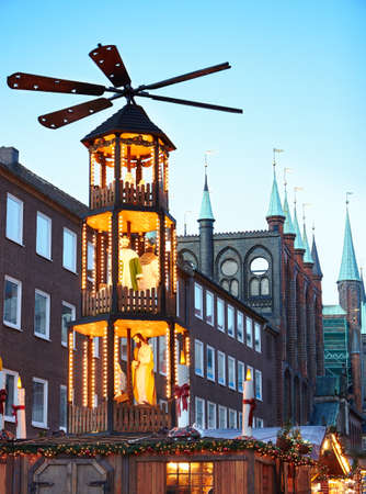 market hall: christmas market in Lubeck, Germany