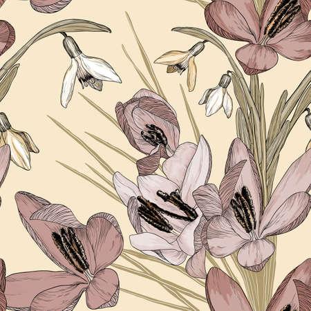 Vector vintage floral naadloze patroon met sneeuwklokjes en krokussen bloemen