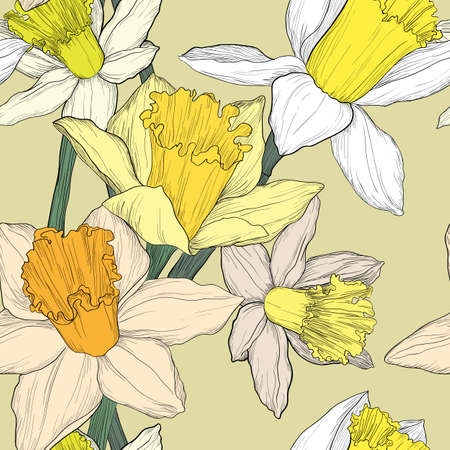Yellow and white jonquil daffodil narcissus seamless pattern