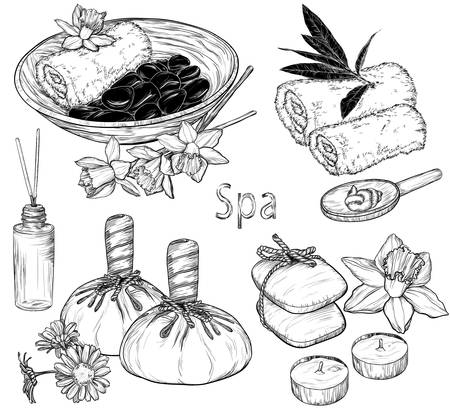 health spa: set of spa illustrations, Beauty and health care sketch