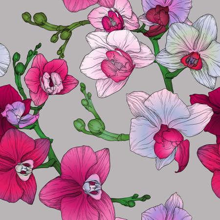 flor morada: Modelo incons�til floral tr�pico con dibujo a mano flores de orqu�deas