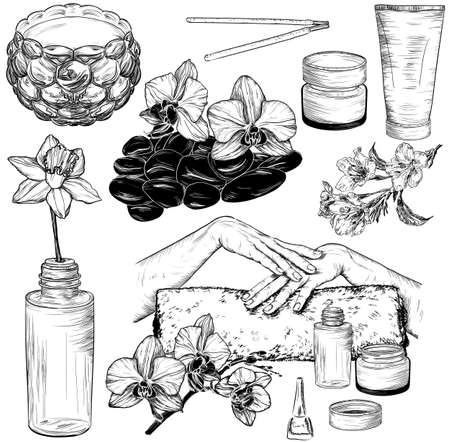 rock salt: set of spa and manicure illustrations, Beauty and health care sketch